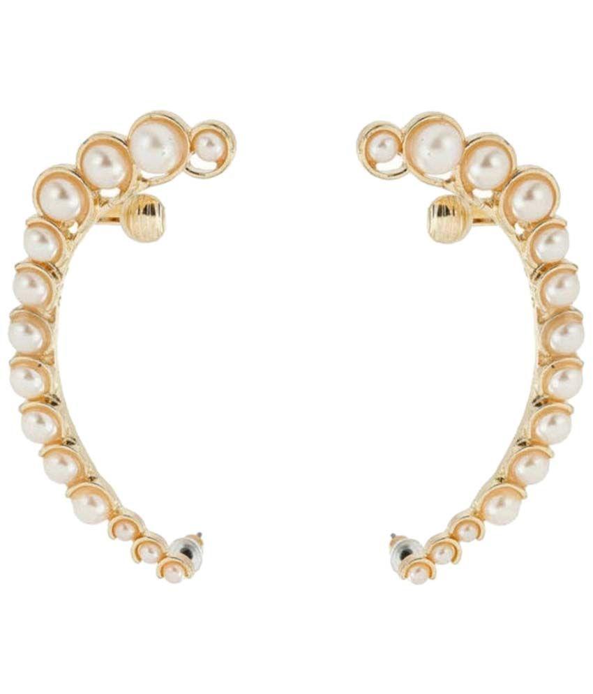 Crunchy Fashion White & Golden Antique Ear Cuffs