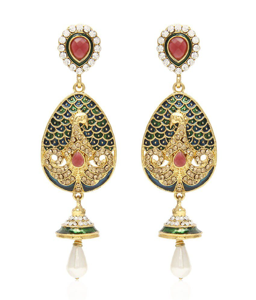 Jewels Galaxy Luxuria Collection Mayur Hanging Earrings With Gold Crystals