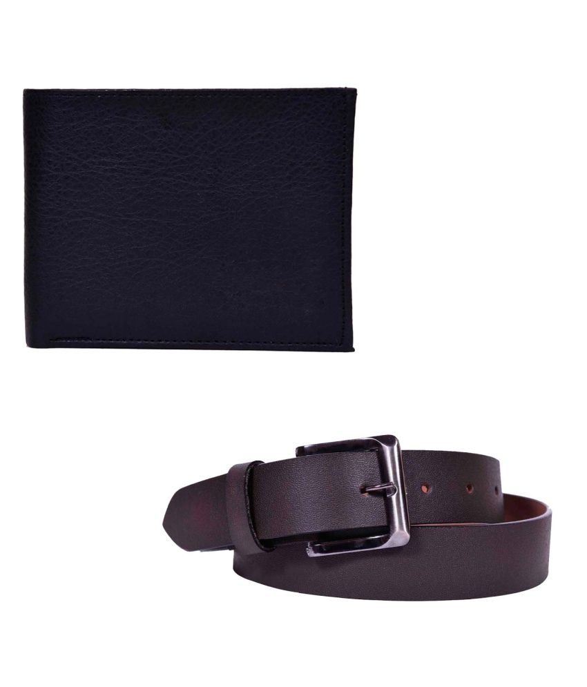 OnlyMee Brown Casual Single Belt For Men With Wallet