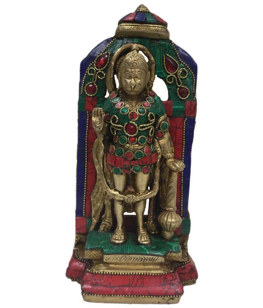 Indian Arts Museum Multicolour Brass Hanuman Statue Idol