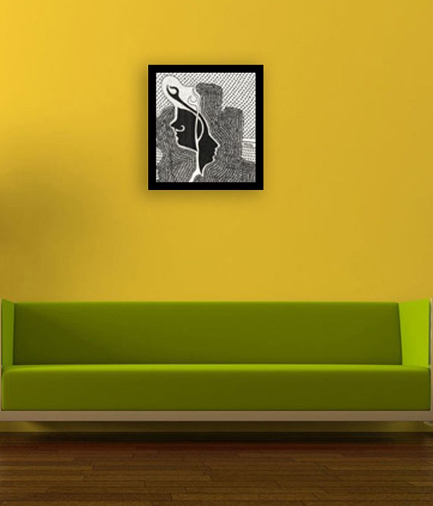Inkas Black and White Wooden Abstract Painting