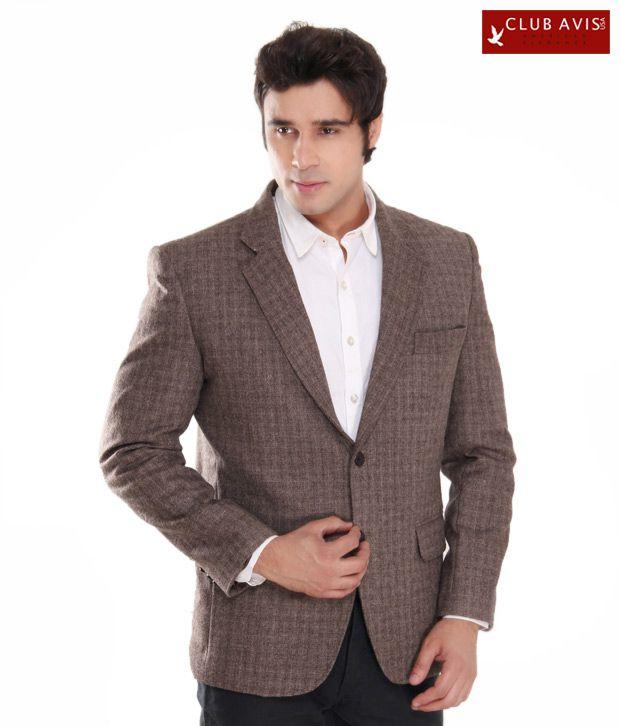 Club Avis USA Dark Brown Checkered Jacket