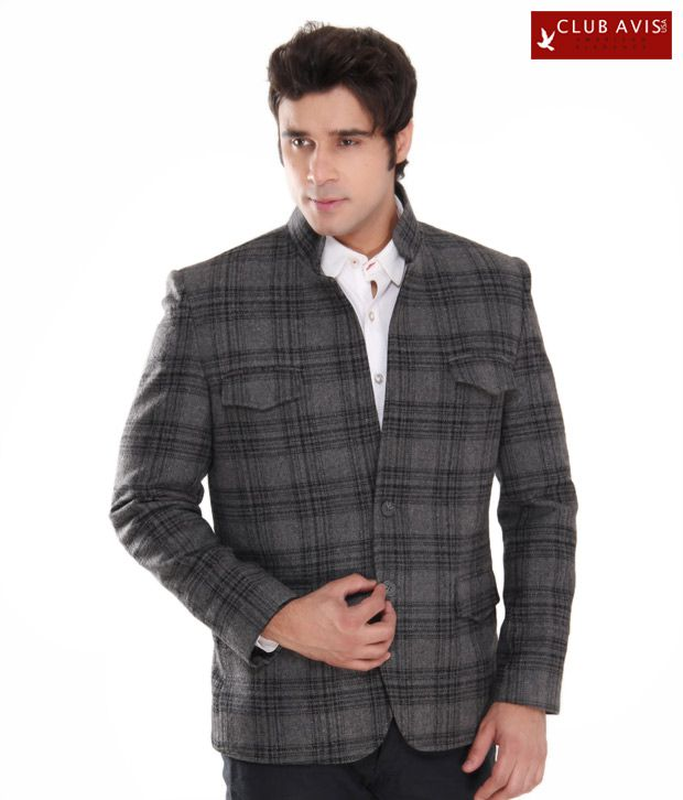 Club Avis USA Grey & Black Checkered Blazer