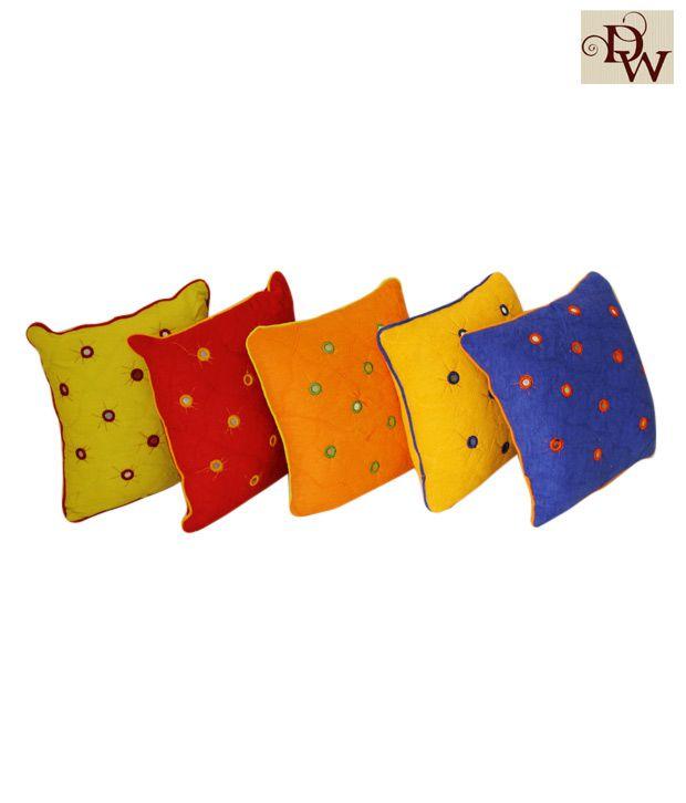 Home Kraft Multi-Coloured Cushion Cover Set (16x16 inches)