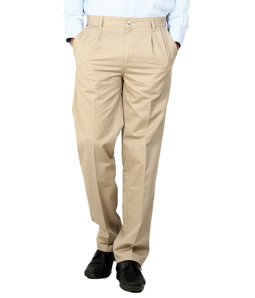 Dad Beige Regular Fit Formal Pleated Trousers