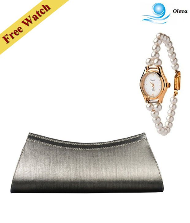 Oleva Silver Embellished Clutch With Free Women's Watch