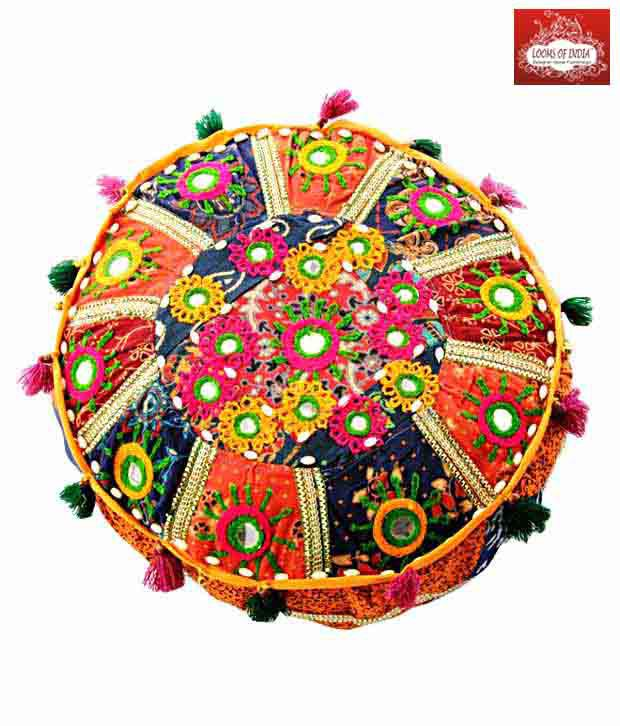 Looms Of India Mirror Work Round Floor Cushion