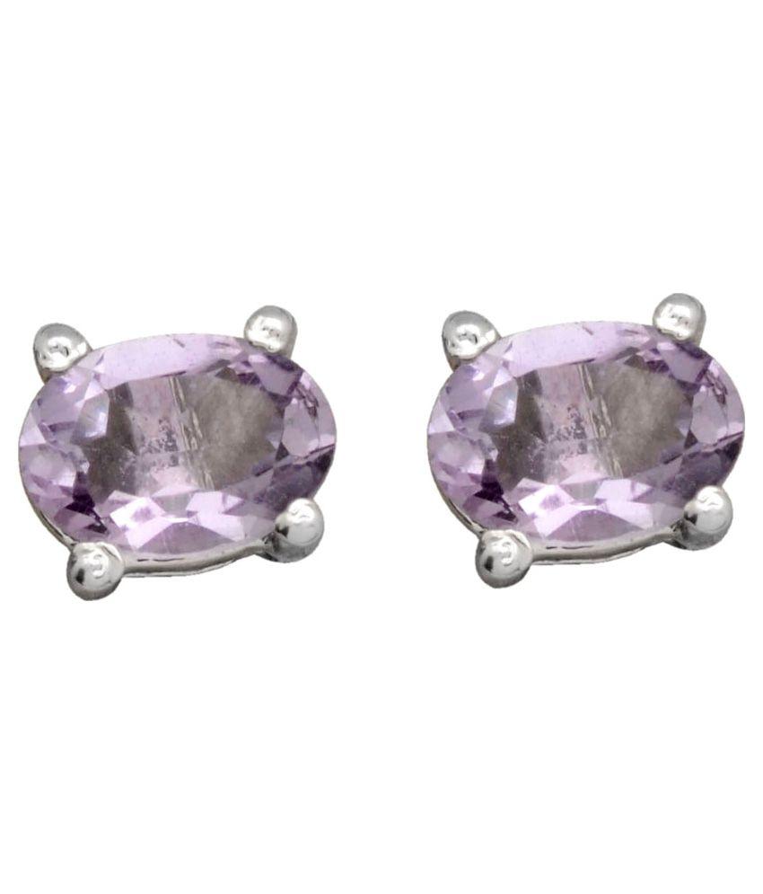 Yugshajewels 92.5 Sterling Silver Amethyst Earrings