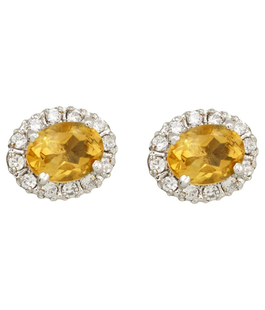 Yugshajewels 92.5 Sterling Silver Citrine Earrings
