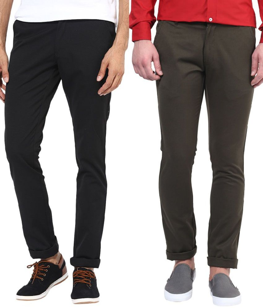 Bukkl Combo Of Black And Olive Slim Fit Casual Chinos