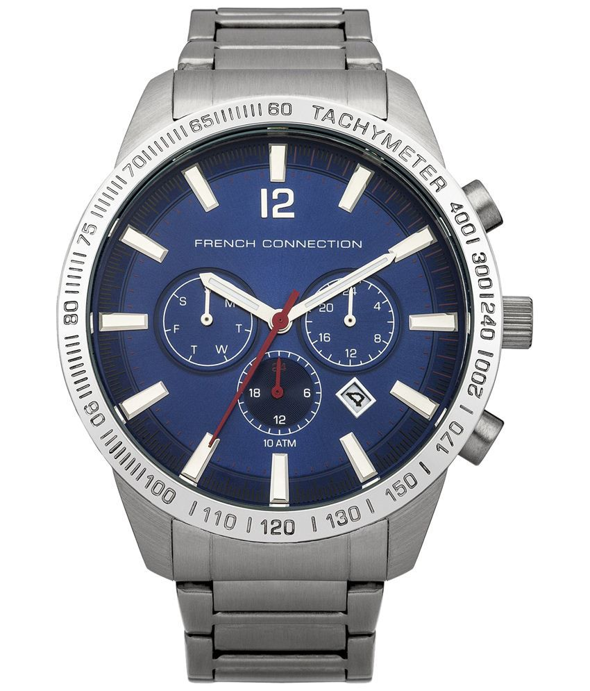 FCUK Navy Blue & Silver Casual Analogue Wrist Watch