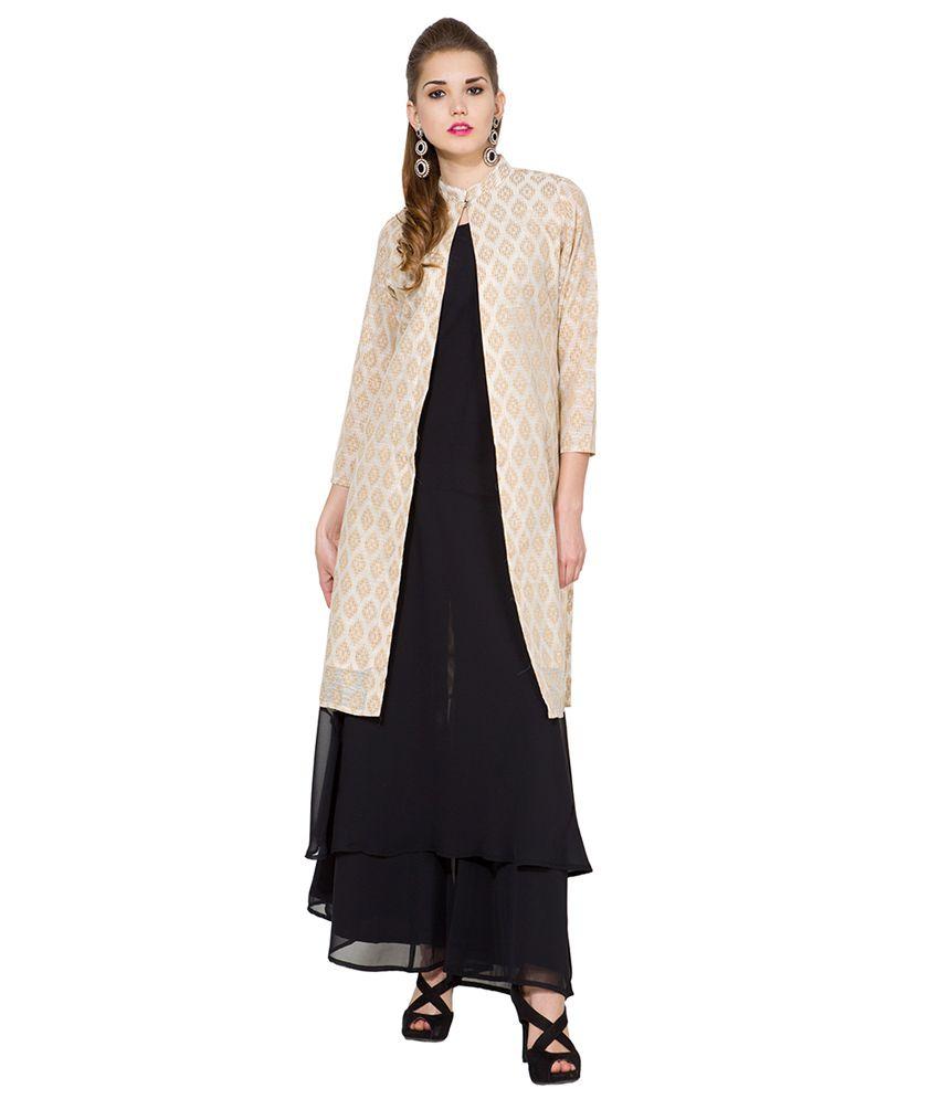 Folklore Beige & Black Cotton Blend Kurta With Jacket & Palazzo Pants