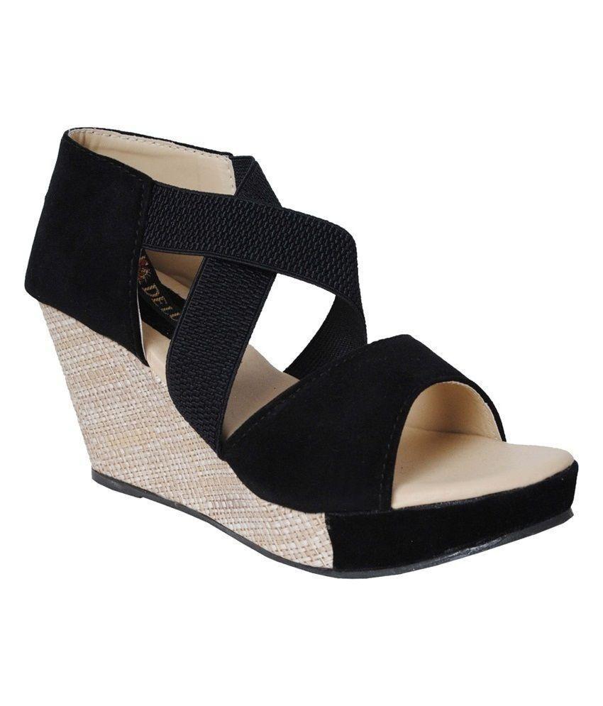 Frontier Black Wedge Heels