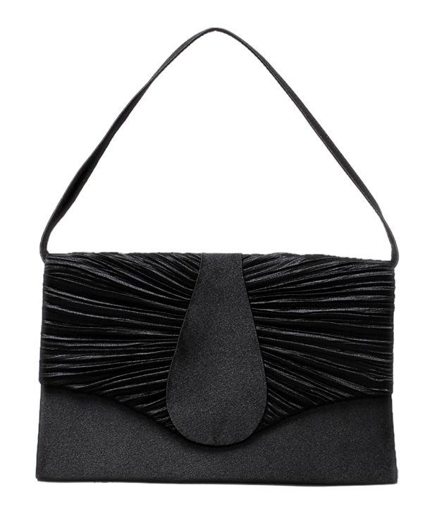 Bolso Splendid Black Pleated Flap Clutch
