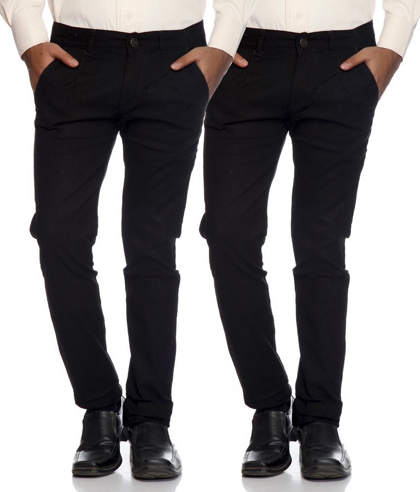 AVE Black Slim Fit Formal Chinos Trouser - Pack Of 2