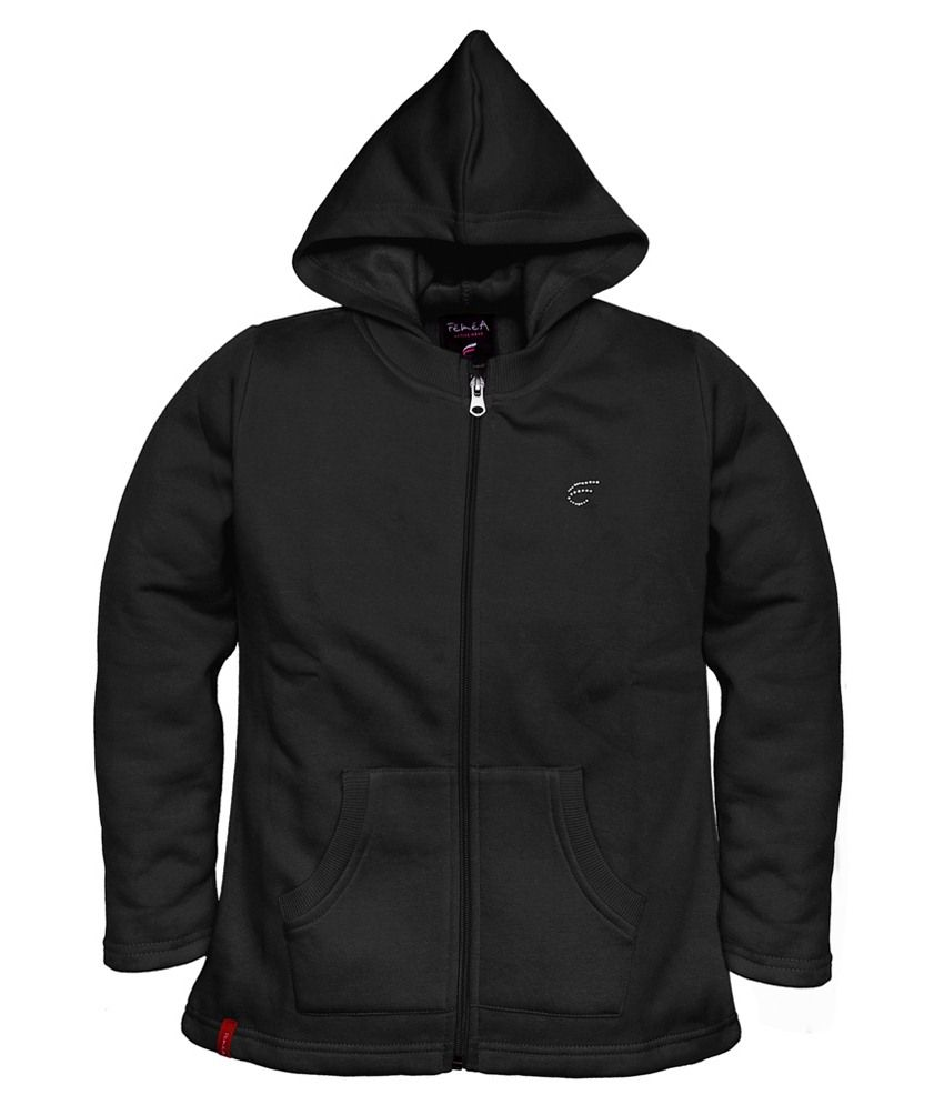 Femea Black Hooded Sweatshirt For Girls