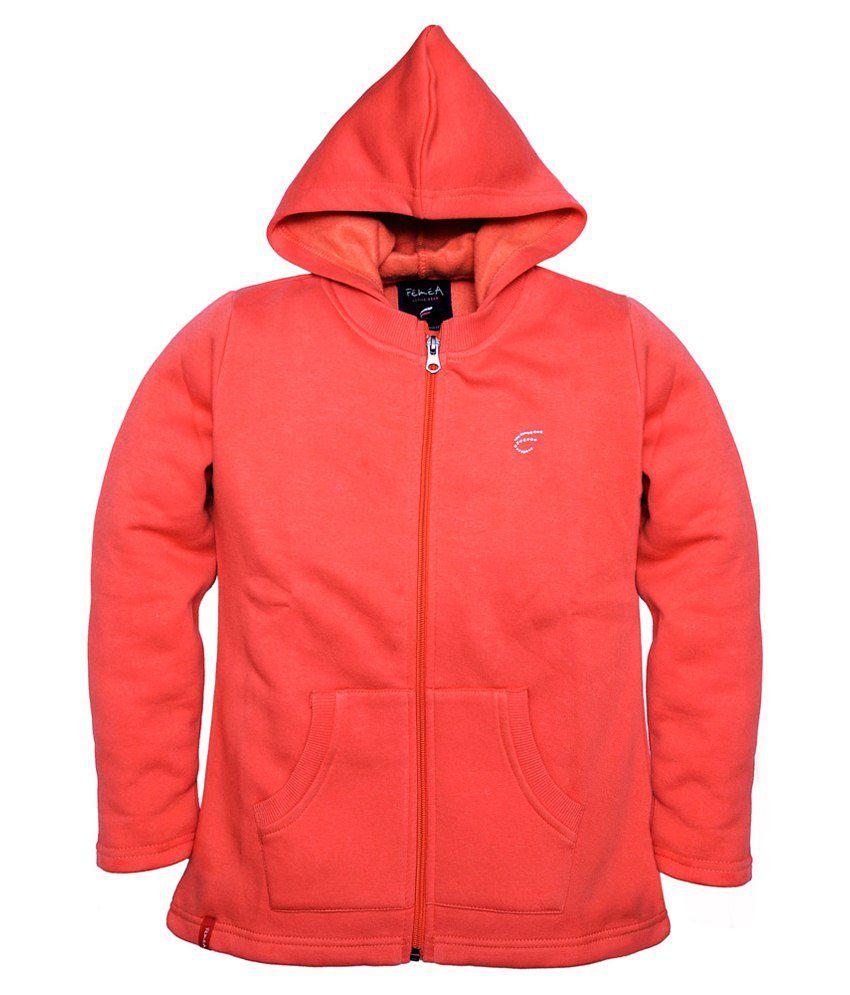 Femea Peach Hooded Sweatshirt For Girls