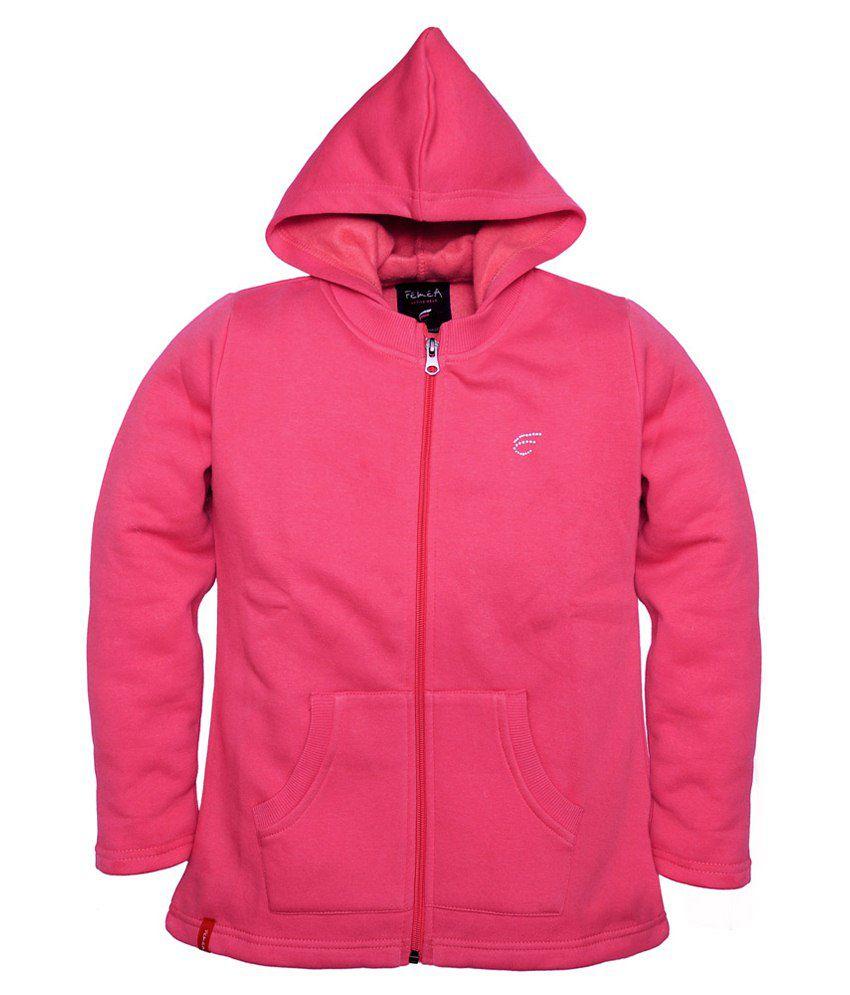 Femea Pink Hooded Sweatshirt For Girls