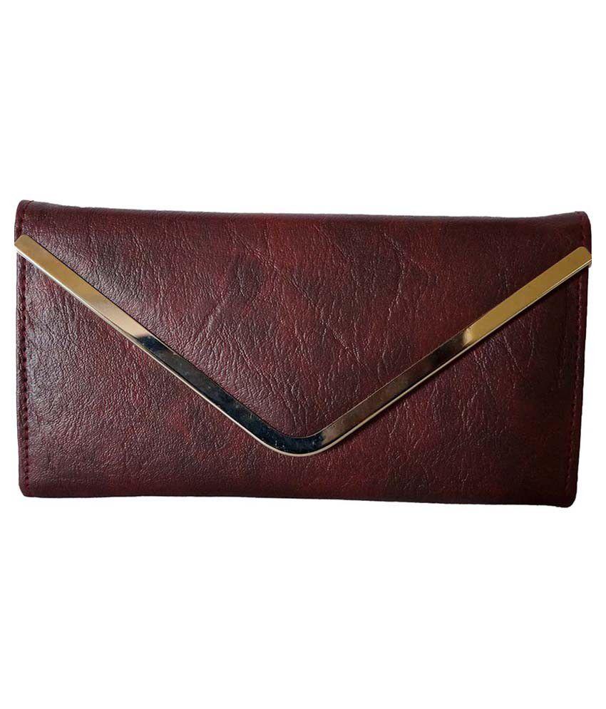 Prajo Maroon Long Wallet