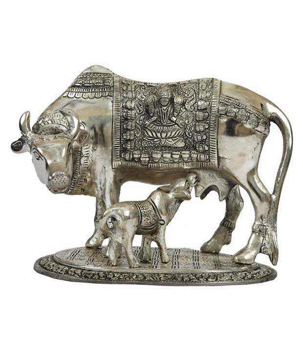 Rigvi Big Silver Metal Cow And Calf