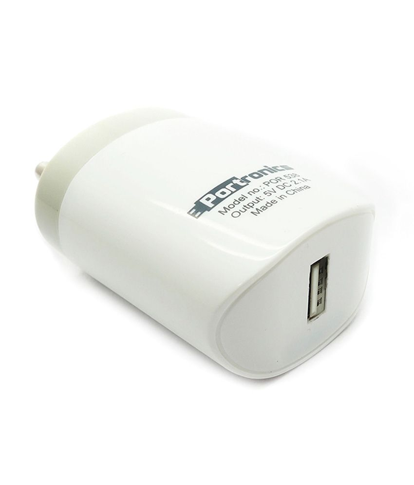 Portronics  2.1Amp Adapter with Single Port Mobile  amp; Tablet Charger   5V DC 2.0A  POR 538,White