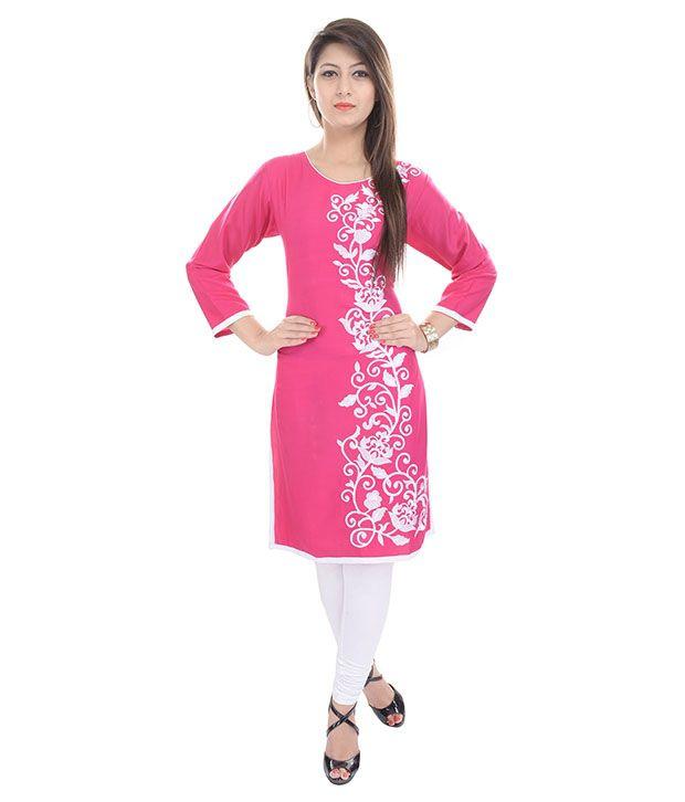 Aawari Pink Poly Rayon Kurti
