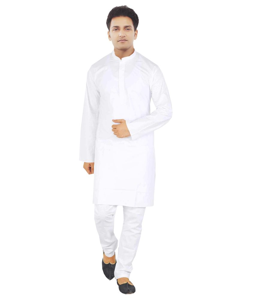 Jbn Creation White Pure Cotton Kurta Pyajama