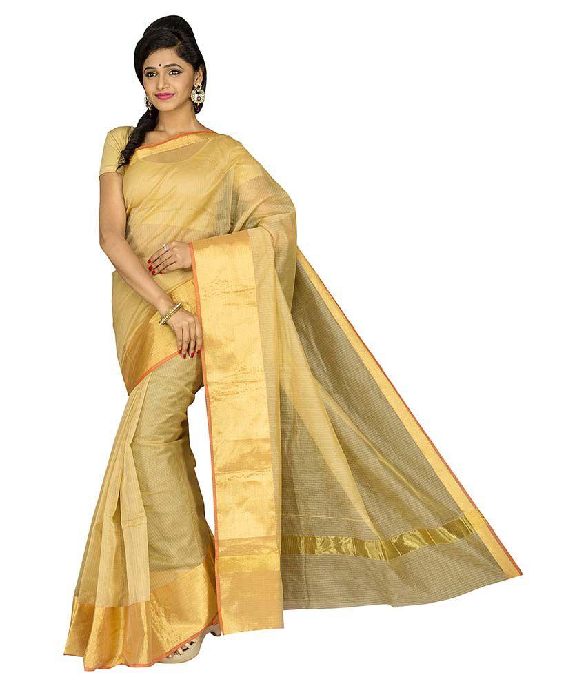 Pavecha's Beige Cotton Silk Saree