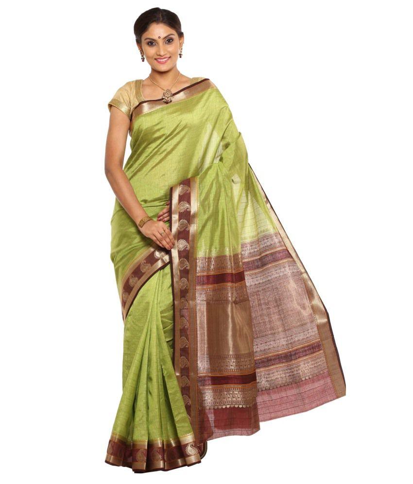 Sudarshan Silks Yellow Tussar Silk Saree