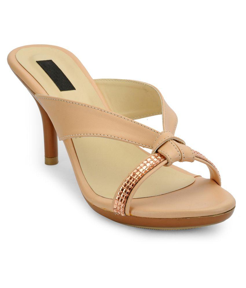 A Click Away Beige Cone Heels