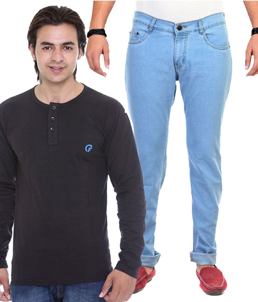 Ave Blue And Black Regular Fit Jeans With T-Shirt