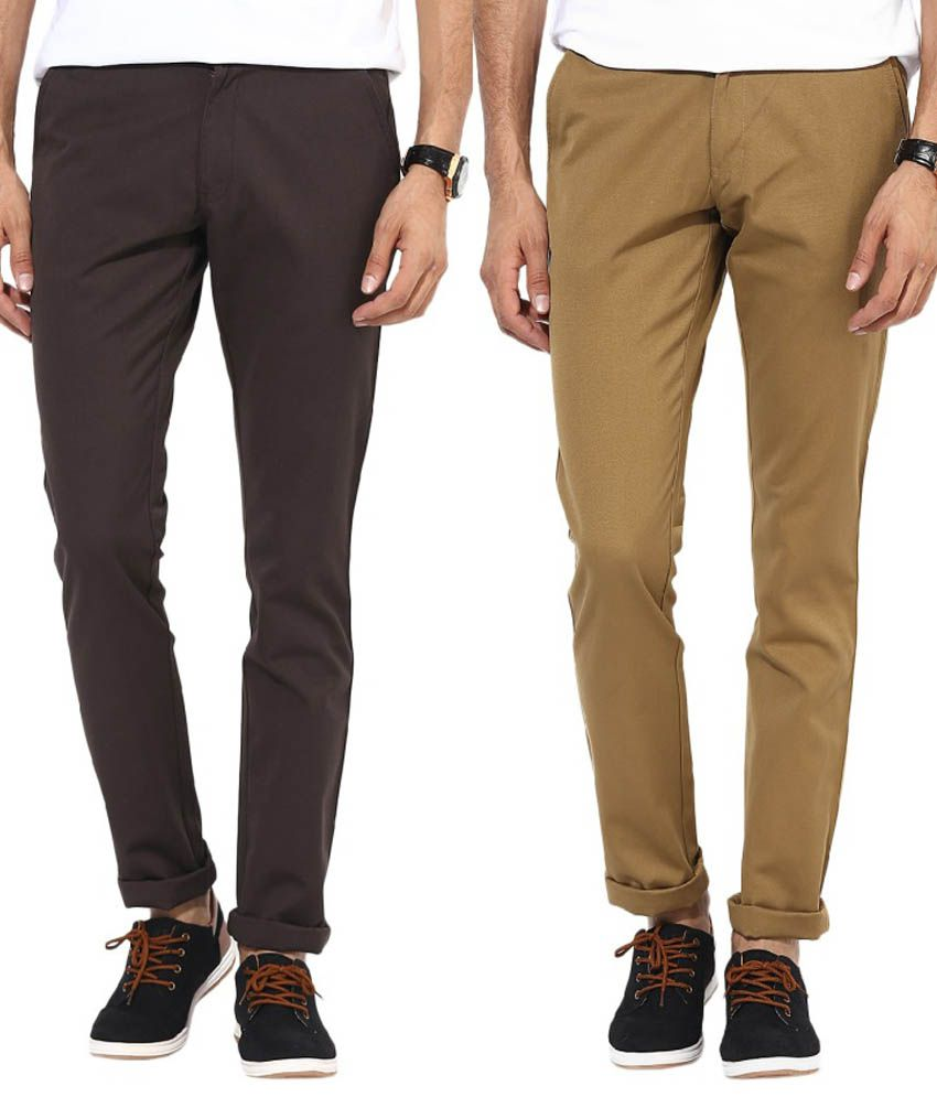 Bukkl Combo Of Coffee And Khakhi Slim Fit Casual Chinos