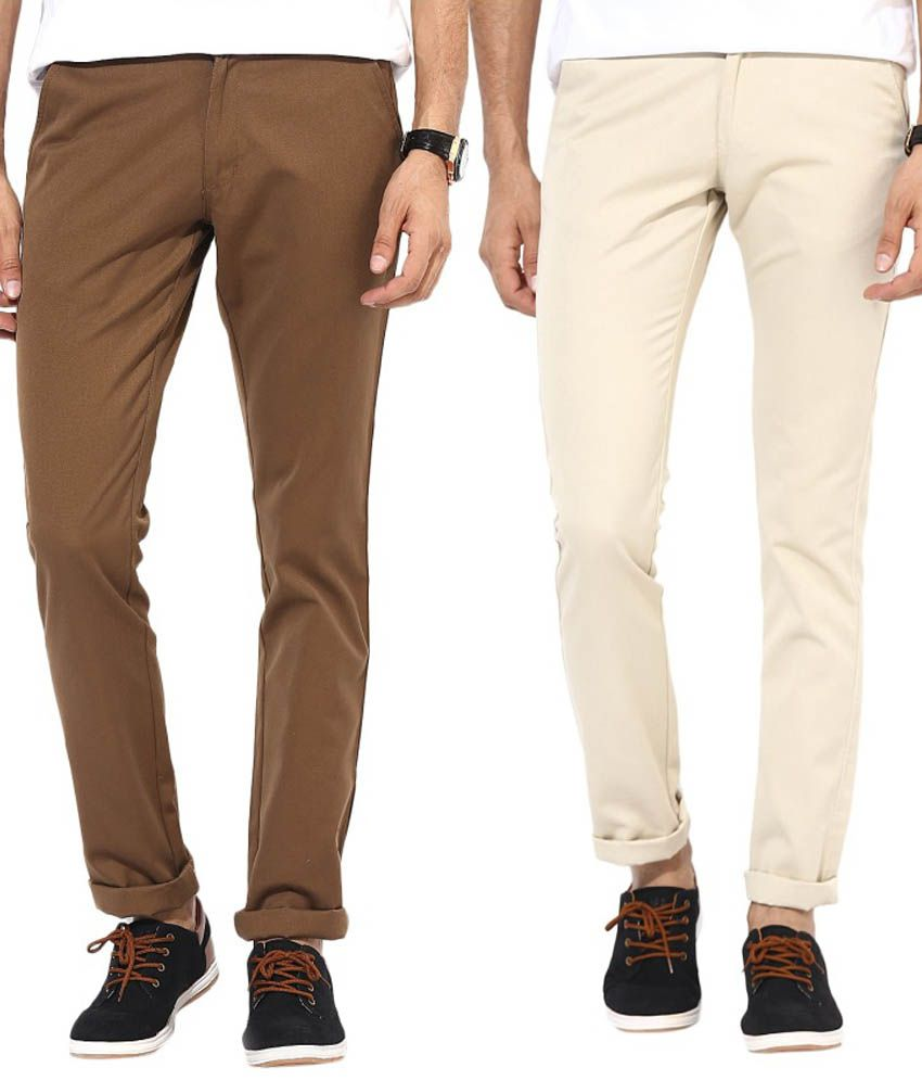 Bukkl Combo Of Cream And Dark Brown Slim Fit Casual Chinos