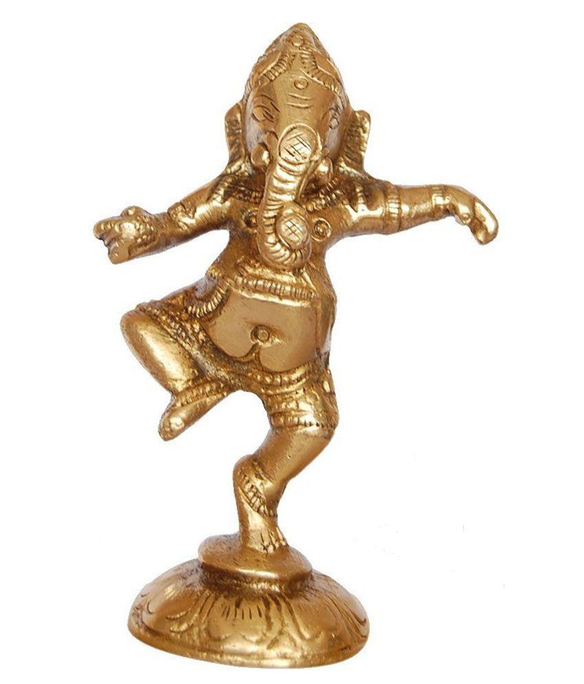 Rime India Golden Dancing Ganesh Statue