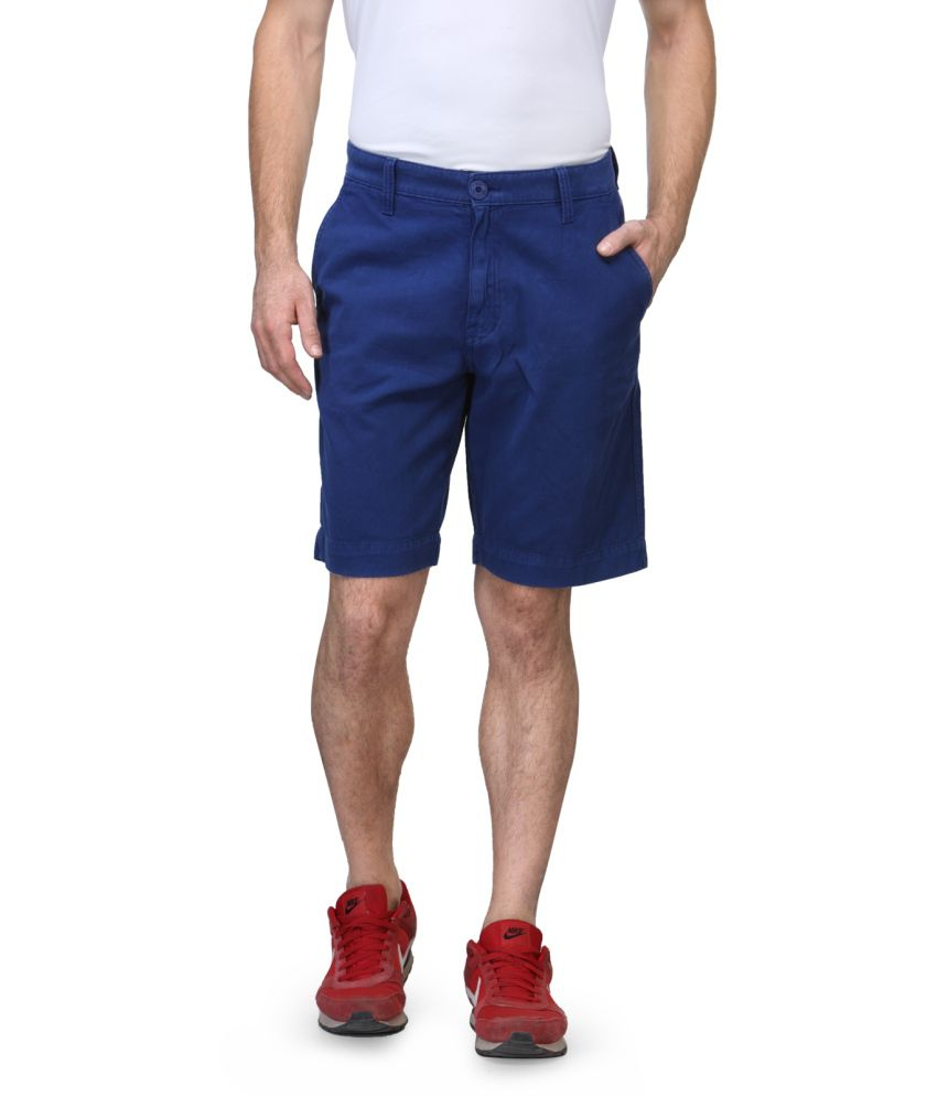 Wear Your Mind Blue Cotton Solid Shorts