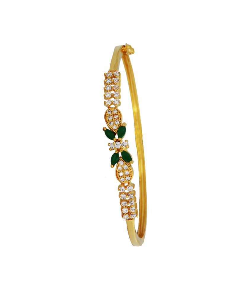 Kushi Floral Gold Plated Emerald with CZ Stone Adjustable Kada