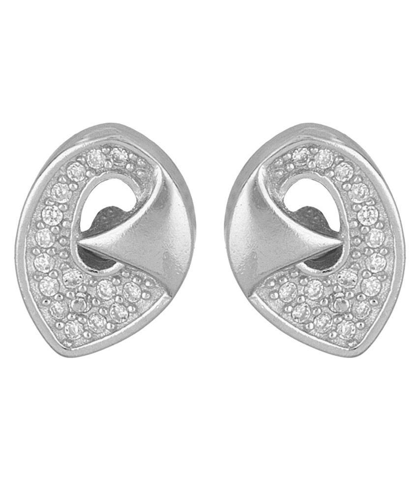 Recrafto Silver Alloy Stud Earrings