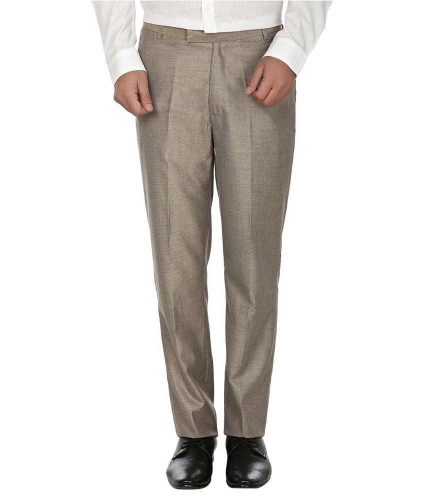 Fizzaro Beige Regular Fit Formal Pleated Trouser