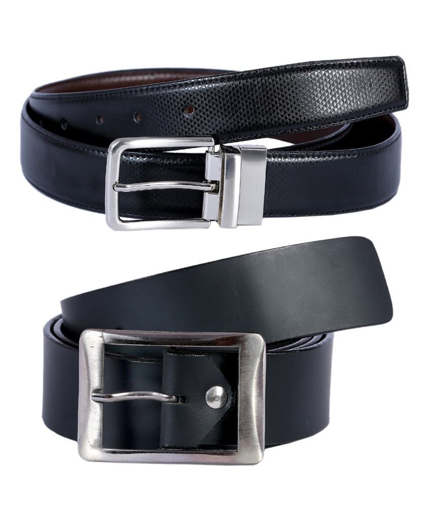 Hardy's Collection Black Belt For Men Pack Of 2