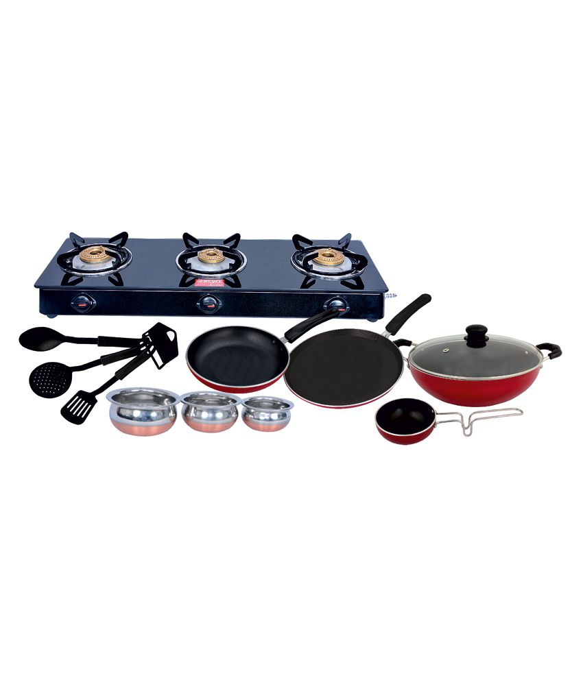 Surya Accent 3 Burner Glasstop Gas Stove + Free 11 Pc Non Stick Bumper Combo