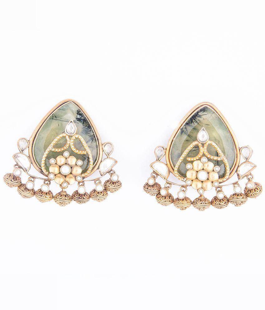 Arnav Golden Crystal Drop Earring