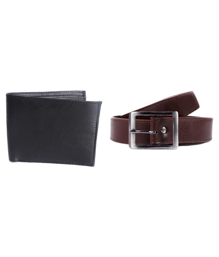 Elligator Combo Of Brown Formal Belt & Wallet