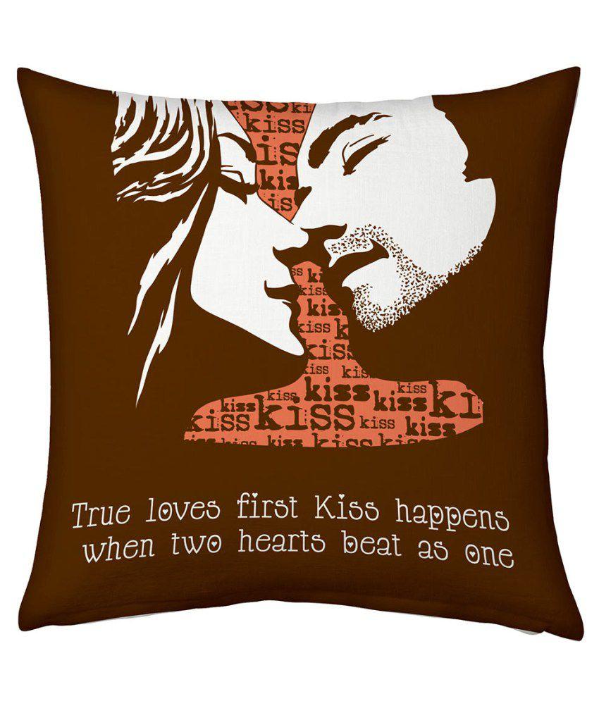 Ethnictreat Brown Designer Romantic Print Filled Cushion 176