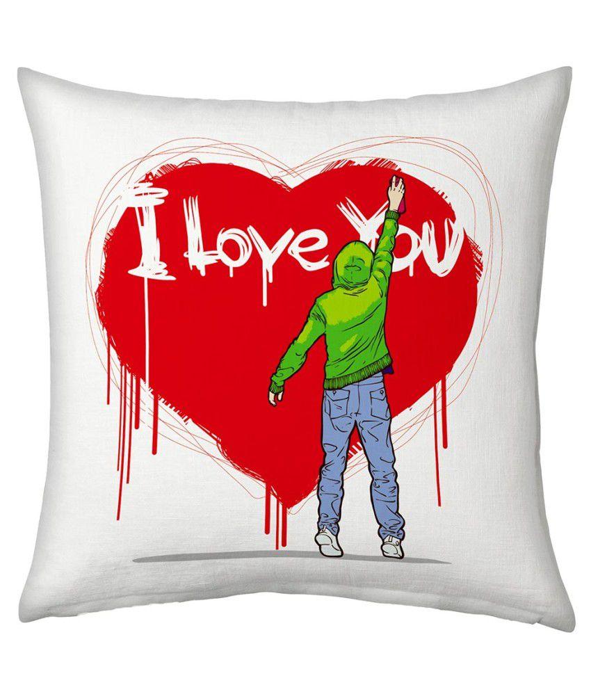 Ethnictreat White Designer Romantic Printed Filled Cushion 167