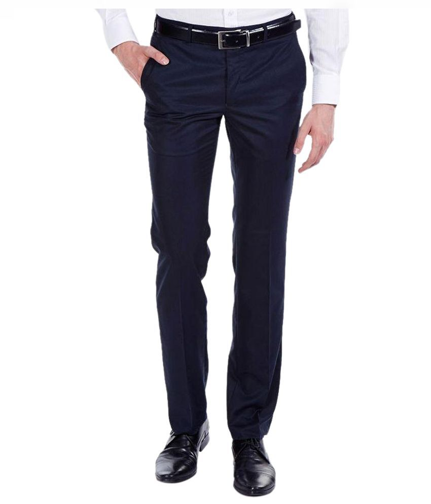 Jhon Diego axe Navy Blue Regular Fit Formal Trouser