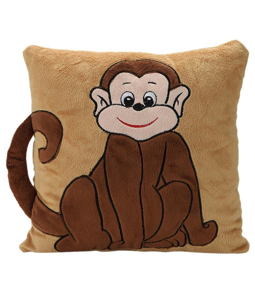 Soft Buddies Soft Buddies Brown Polyester Monkey Stuffed Cushion