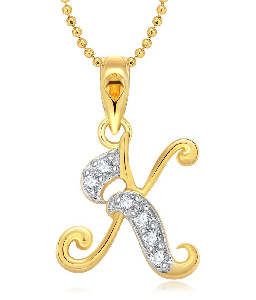 Vighnaharta K Letter CZ Gold and Rhodium Plated Pendant