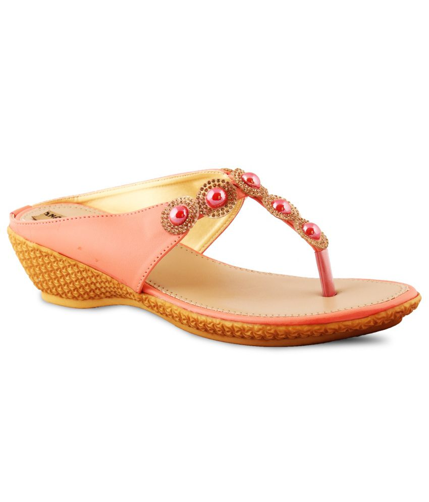 Anand Archies Pink Heeled Slip Ons