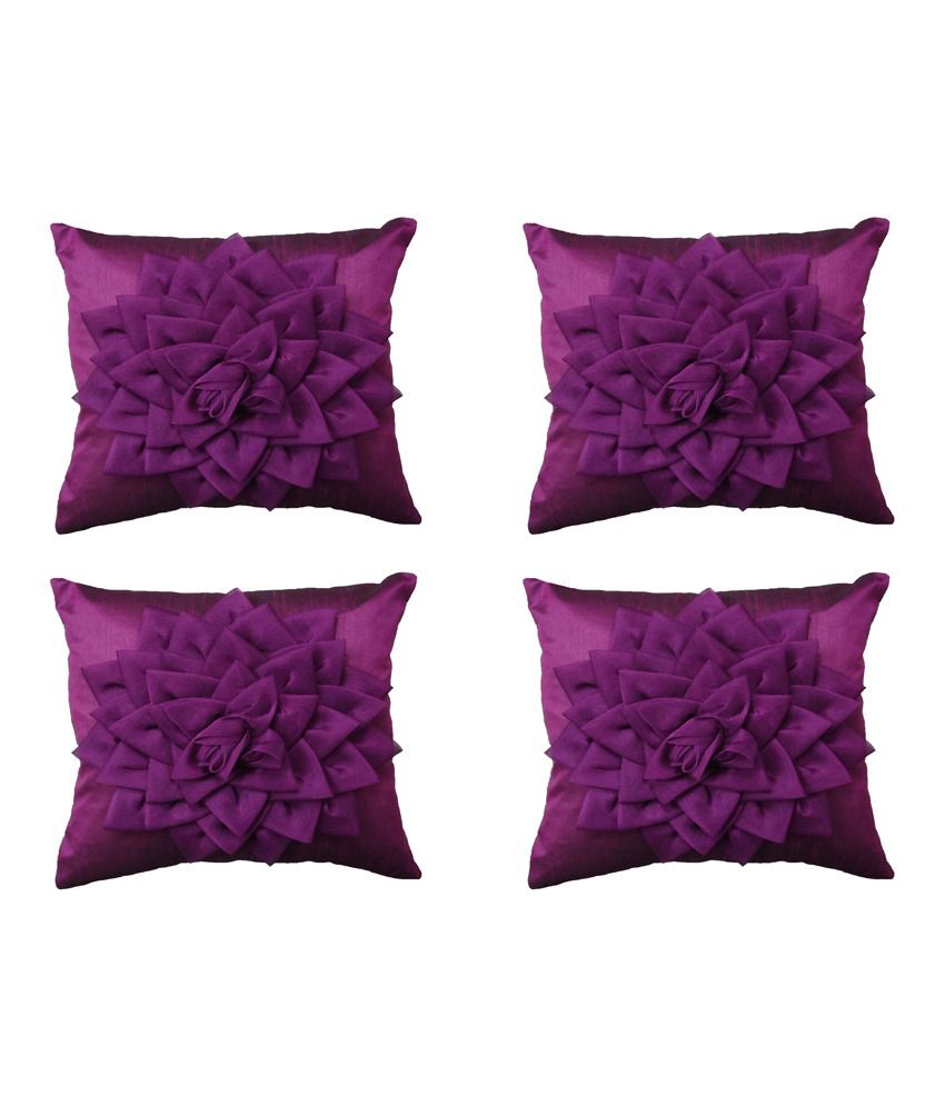 Home Shine Purple Floral Cushion Covers (set Of 4)