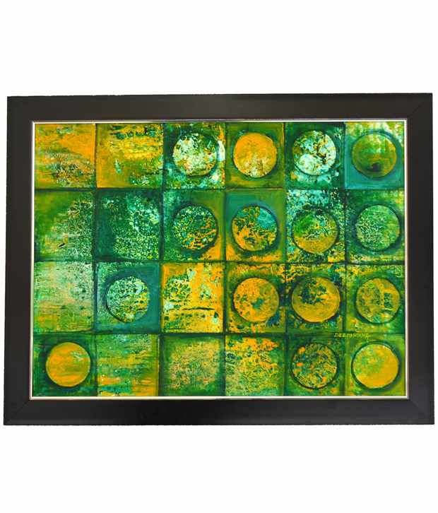Rangvas Green Wooden Oil Painting With Frame